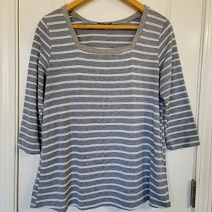 Papermoon Gray & White Stripe 3/4 Sleeve Blouse